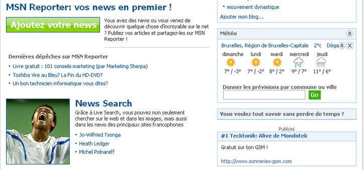 MSN reporter, le digg like