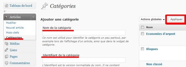 creation catégories dans wordpress