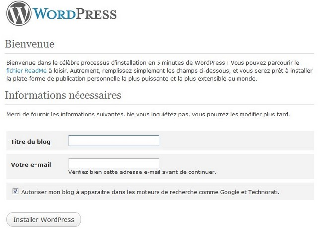 nom du blog wordpress sur 1and1