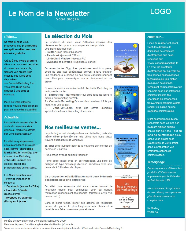 Préférence 18 modèles de newsletters et d'emailings gratuits - XO39