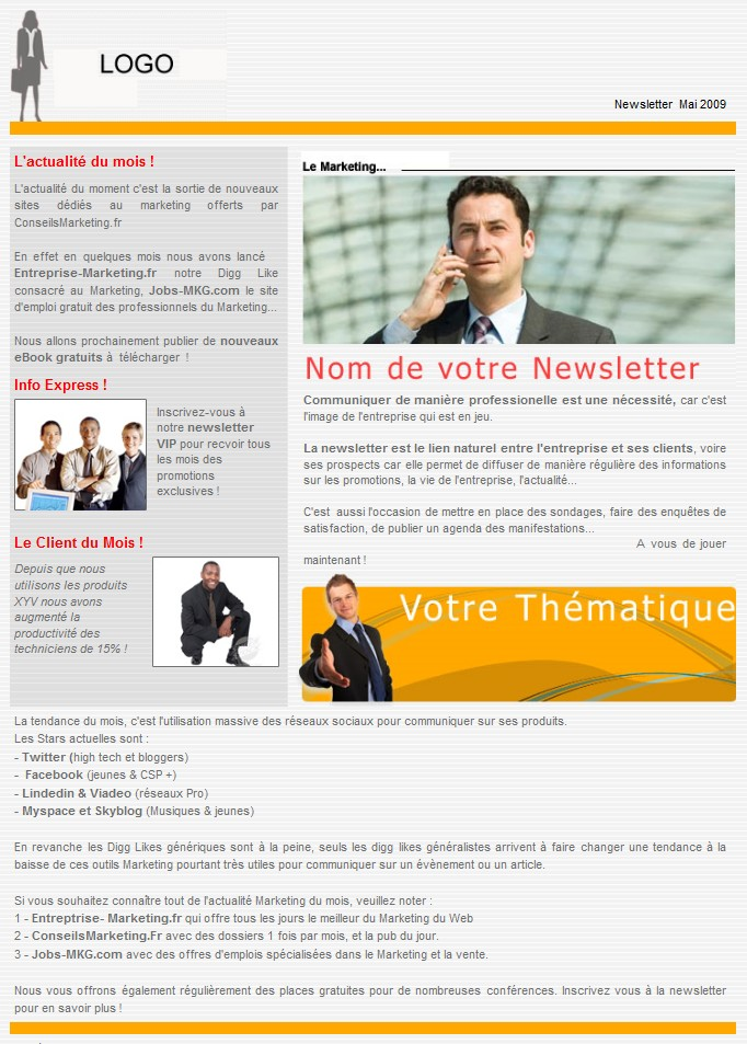 Häufig 18 modèles de newsletters et d'emailings gratuits - CF39