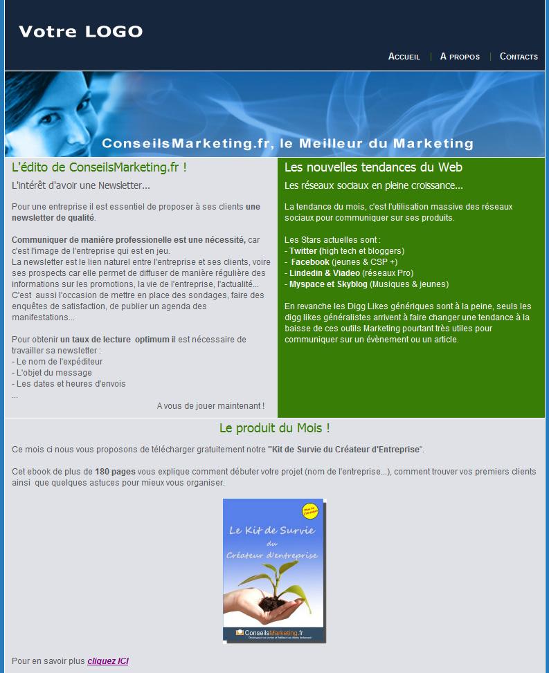 Extrêmement 18 modèles de newsletters et d'emailings gratuits - BU73