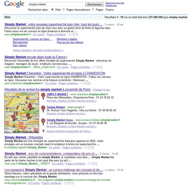 recherche google simply market