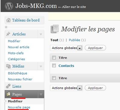 page wordpress