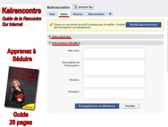 infos page facebook