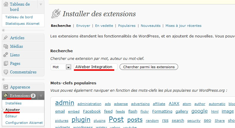 wordpress aweber