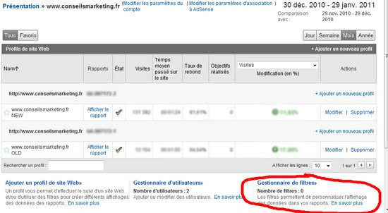 filtre adresse ip google analytics